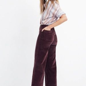 Madewell Emmett Wide-Leg Crop Pants in Velveteen